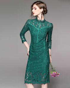 Green Lace Stand Collar 3/4 Sleeve Midi Sheath Dress, Green, WLZD | VIPme
