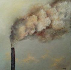 "Saatchi Art Artist Tomas Castano; Painting, ""Polluting factory"" #art"