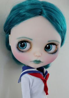 Tallulah a gorgeous teal haired custom factory Blythe doll by WillowDesignstoyshop on Etsy