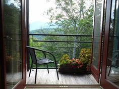 Romantic Spot at a balcony in Bed and Breakfast Asheville NC, Sourwood Inn  810 Elk Mountain Scenic Hwy.  Asheville, North Carolina 28804   http://sourwoodinn.net/  828-255-0690
