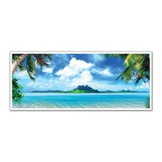 JP London PAN5246 uStrip Tropical Ocean Island Palm Trees High Resolution Peel and Stick Removable Wall Mural