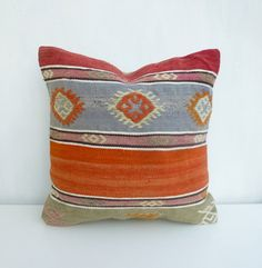 Kilim Pillows, Throw Pillows, Pillow Covers, Light Blue, Trending Outfits, Handmade Gifts, Pastel, Orange, Vintage