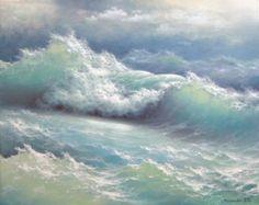 197  stormy Surf 5 x 7 original impresión de giclee de