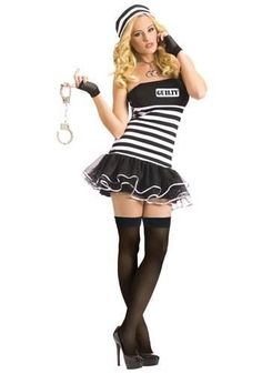Guilty Conscience Prisoner Costume Product Description Adult Halloween Costumes - This Guilty Conscience Prisoner Costume includes the tutu dress, fishnet glovelette Fairy Halloween Costumes, Adult Costumes, Costumes For Women, Couple Costumes, Halloween Party, Fun Costumes, Pirate Costumes, Adult Halloween, Couple Halloween