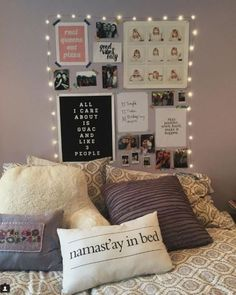 Lights around wall art are great ways to decorate your dorm room!