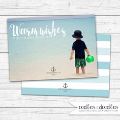 Nautical Christmas Card, Personalized Photo Holiday Card, Warm Wishes, Beach Christmas Card, Nautical Holiday Card, Printable, Anchor by OandD on Etsy https://www.etsy.com/listing/245485497/nautical-christmas-card-personalized