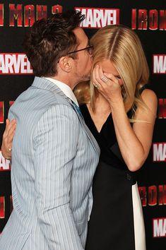 RDJ kissing Gwyneth on her head.
