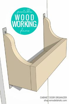 DIY Cabinet Door Storage Bin Woodworking Plans and Template via shop.remodelaholic.com How to add extra storage in the bathroom. Adding extra storage on cabinet doors. Diy Cabinet Door Storage, Storage Bins, Cabinet Plans, Wall Storage, Extra Storage, Storage Solutions, Woodworking Shop, Woodworking Plans, Woodworking Basics