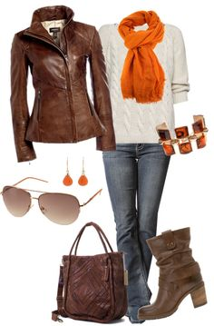 fall layer love // pop of orange, leather, weekend