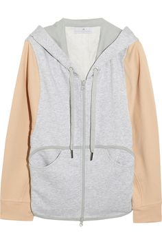 Adidas by Stella McCartney Two-tone cotton-jersey hooded top NET-A-PORTER.COM