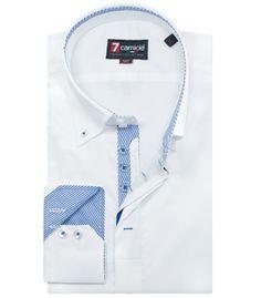 Camicia Uomo manica lunga 2 Bottoni slim popeline stretch unito Bianco