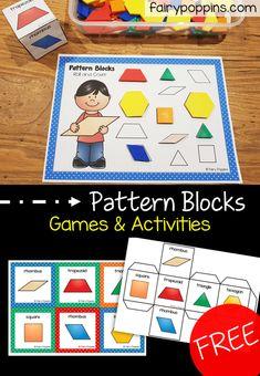 Shape Activities Kindergarten, Early Learning Activities, Preschool Centers, Free Preschool, Activities For Kids, Preschool Shapes, Homeschool Kindergarten, Math Centers, Pattern Block Templates