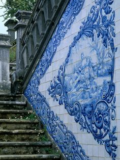 The stairs down into the courtyard.Stone Chairs and Azulejo Tiles, Rococo Palace, Cacela Velha, Portugal Photographic Print Portuguese Culture, Portuguese Tiles, Saint Marin, Spain And Portugal, Portugal Travel, Blue And White China, Stairway To Heaven, Tile Art, Delft