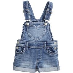 Bib Overall Shorts $24.95 (81 BRL) ❤ liked on Polyvore featuring jumpsuits, rompers, shorts, overalls, bottoms, baby, playsuit romper, blue overalls, short overalls and blue rompers