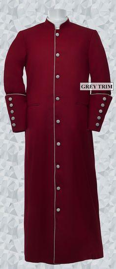 159 M. Men's Clergy/Pastor Robe - Burgundy/Grey