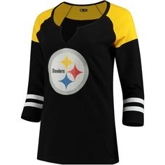 Women's Pittsburgh Steelers 5th & Ocean by New Era Black Split Slub... ($35) ❤ liked on Polyvore featuring tops, t-shirts, nfl t shirts, 3/4 length sleeve tees, 3/4 sleeve t shirts, 3/4 sleeve tee and scoop-neck tees