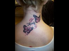 Neck tattoo designs among girls or neck tattoo designs on women neck always attracted every one attentions.By showing the appearance of cool and feminine neck tattoo designs you can increase the curiosity of every men. Butterfly Tattoo Cover Up, Butterfly Tattoo Meaning, Butterfly Tattoo On Shoulder, Butterfly Tattoos For Women, Butterfly Tattoo Designs, Butterfly Design, Shoulder Tattoo, Girl Neck Tattoos, Tattoo Girls