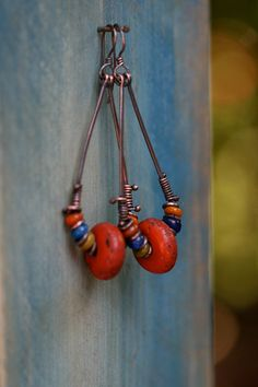 Sherpa Glass and Indonesian Glass Hoops Gipsy Tribal by Tribalis, $36.00