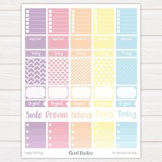 These printable weekly planner stickers are perfect for the vertical Erin Condren Life Planner but of course, they can be used in other types of planners as well.  Organize your routine with these beautiful ready to print stickers! ❤  Full box size: 1.5 (width) x 1.875 (height) inches.  And you know whats fun about printable stickers? You can print and use them as often as you like!  PLEASE NOTE: 1. This is a digital product – no physical item will be shipped to you. These stickers are meant…