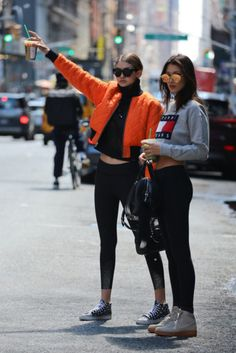 Jacket: bomber jacket, athleisure, cropped sweater, grey sweater, tommy hilfiger, orange, celebrity, celebrity style, gigi hadid, bella hadid, black leggings, sporty chic - Wheretoget