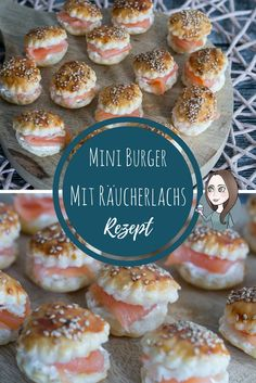 Mini Räucherlachs Burger mit Sesam und Meerettich-Sahne-Creme als Fingerfood un… Mini smoked salmon burger with sesame seeds and horseradish cream cream as finger food and appetizers for the next party recipe Party Finger Foods, Snacks Für Party, Finger Food Appetizers, Appetizers For Party, Brunch Recipes, Appetizer Recipes, Snack Recipes, Best Homemade Burgers, Healthy Burger Recipes
