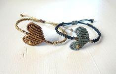 Macrame Heart Bracelets. Minimal hearts. Chic Elegant Everyday Bracelets. Boho Chic Trend. Brass Findings. Gift for Her. Size Adjustable. by NarimCrafts on Etsy