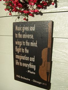 """Music Gives Soul to the Universe - 12"""" x 18"""" Plywood Customizable Hand Painted Sign. $35.00, via Etsy."""