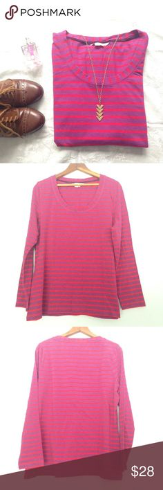 🆕 Boden striped jersey layering top Layer away or just hang out in this this comfy striped scoopneck by Boden! Super soft material, long sleeved and a perfect pop of color and pattern! Size 18, in EUC! Boden Tops Tees - Long Sleeve