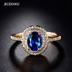 2017 Fashion Halo Finger Ring Charming Gold Plated Ring Big Shiny Oval Crystal Zirconia Luxury Wedding Jewelry For Women R289