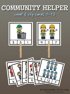 Community helper count & clip cards for preschool, pre-k, and kindergarten. #preschool #prek #kindergarten #prekactivities #preschoolactivities #kidsactivities #math #counting #communityhelpers #printables #teacherspayteachers