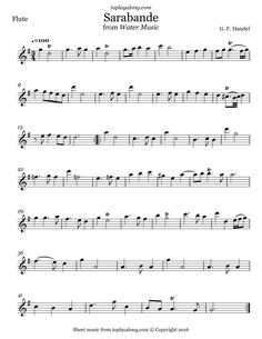 Sarabande from Water Music by Handel. Free sheet music for flute. Visit toplayalong.com and get access to hundreds of scores for flute with backing tracks to playalong.