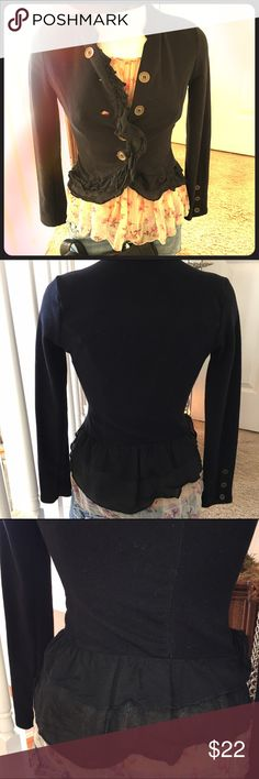 Super cute black top or jacket Black soft comfy cotton w/chiffon ruffled bottom layer, buttons down the front, three buttons at wrists. Excellent condition no flaws stains or rips Jackets & Coats