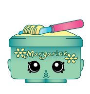 Shopkins Margarina. Season 	One. Colors 	Green (#1-147). Rarity 	Exclusive. Team 	Exclusive. Finish 	Regular. Margarina is included in the Shopkins Playset Small Mart.