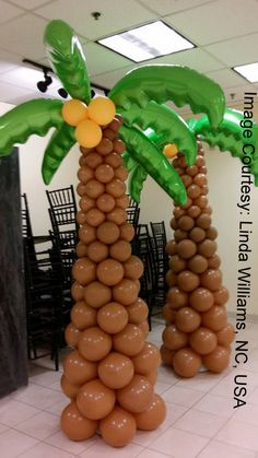 Balloon Decoration Palm Tree - Home Page Balloon Decoration Images, Palm Tree Decorations, Luau Party Decorations, Luau Theme Party, Moana Themed Party, Hawaiian Luau Party, Moana Birthday Party, Luau Birthday, Jungle Theme Parties