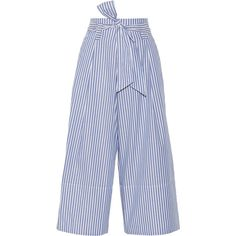 By Malene Birger Bennih cropped striped cotton-poplin wide-leg pants ($275) ❤ liked on Polyvore featuring pants, capris, trousers, striped, blue, lightweight pants, blue pants, blue striped pants, striped pants and wide leg trousers