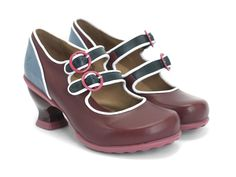 """The Liz Mary Janes are a delicious recipe combining the fit of The Hopeful Family, aniline leathers from The Mini Family, rubber soles from The Hope Family, and a modified 2.5"""" Wearever heel. They're so comfortable and stylish, that they were made incustom colours (grey and burgundy)as the official uniform shoe for all female flight attendants on Air Canada rouge! We challenge you to name another fashion shoe brand that is so dependable, it's beenchosen to fly so high. With contrast…"""