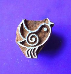 Small Bird Hand Carved Wood Stamp Animal Indian Printing Block  SM39