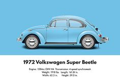 1972 Volkswagen Super Beetle - Marina Blue Digital Art