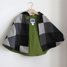 Hooded newborn or toddler girls or boys cape in Heathered Wool Patchwork, black and grey- sizes newborn, 3m, 6m, 12m, 18m, 2t, 3t, 4t. $48.00, via Etsy.