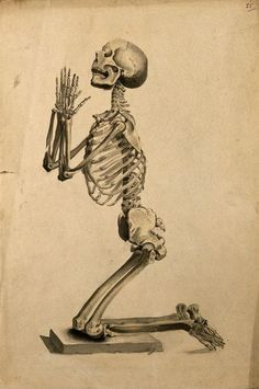 Praying skeleton  after W. Cheselden, 1830-1835. The Wellcome Library, CC-BY