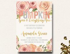 Pumpkin Birthday Our Little Spice Party Invite Invitation Watercolor Fall Floral DIY Printable By