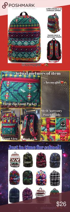 "🆕Aztec Print Backpack Back packs designed in popular prints and multi-color designs. Great styles for both boys and girls perfect for all ages! Measures 17"" x 12"" x 6"" with a large main compartment & front pocket. Maximum storage of books, folders, & more. Made of 300HD polyester, has a padded back, padded adjustable matching adjustable back straps. Durable 10X zippers. On top of the bag is an opening for earphones and the mesh covered handle also adds comfort when handling the bag. Designs…"