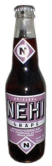 Nehi - Grape, orange, and tropical soda.  I sure remember these. When we when grocery shopping on Thursdays (Pop's Pay Day) we were allowed to go and get a six pack of Nehi and we could switch the bottles in the carboard carton until we got all the flavors we wanted.