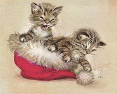 Cat Christmas Cards, Christmas Kitten, Christmas Animals, Vintage Christmas Images, Retro Christmas, Christmas Pictures, Vintage Holiday, Xmas, Kittens Cutest