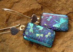 Dichroic Glass Earrings Fused  Glass Earrings  I Love by GlassCat, $22.50