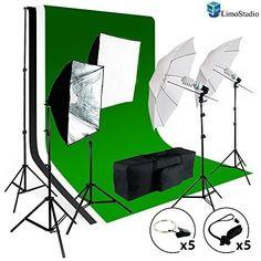 LimoStudio Photo Video Studio Light Kit - Includes Chromakey Studio Background Screen (Green Black White), (3) Muslin BackDrops, Umbrella, Softbox, Lighting Diffuser Reflector, AGG1388 LimoStudio http://www.amazon.com/dp/B00LV46738/ref=cm_sw_r_pi_dp_esIavb1WGNWRE