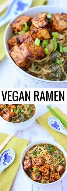 Vegan Ramen Soup! Flavorful miso broth with hoisin tofu and fresh ramen noodles. | www.delishknowledge.com #vegan #ramen #soup #tofu #healthy #vegetarian #dinner #healthyrecipes #plantbased