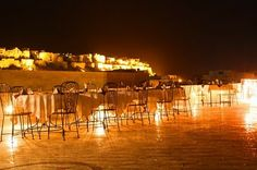 artnlight: India, Mandir Palace, Rooftop dining, with views of the Jaisalmer Fort