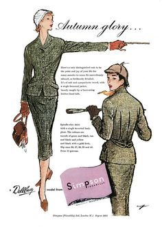 Simpson ladies autumn suit ad. #vintage #1950s #fashion