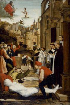 koniec XV wieku - ofiary zarazy i św. Sebastian - Saint Sebastian Interceding for the Plague Stricken, Josse Lieferinxe  1497-1499.  Not your usual St-Sebastian painting.